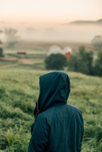 girl hooded on farm